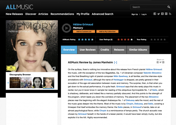 Album review: Memory – AllMusic com — Hélène Grimaud